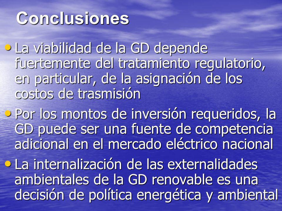 Conclusiones La viabilidad de la GD depende fuertemente del tratamiento regulatorio, en particular, de la asignación de los costos de trasmisión La vi