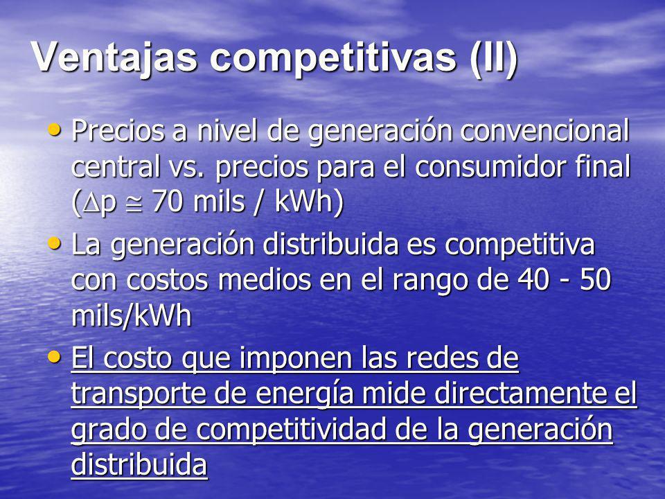 Ventajas competitivas (II) Precios a nivel de generación convencional central vs. precios para el consumidor final ( p 70 mils / kWh) Precios a nivel