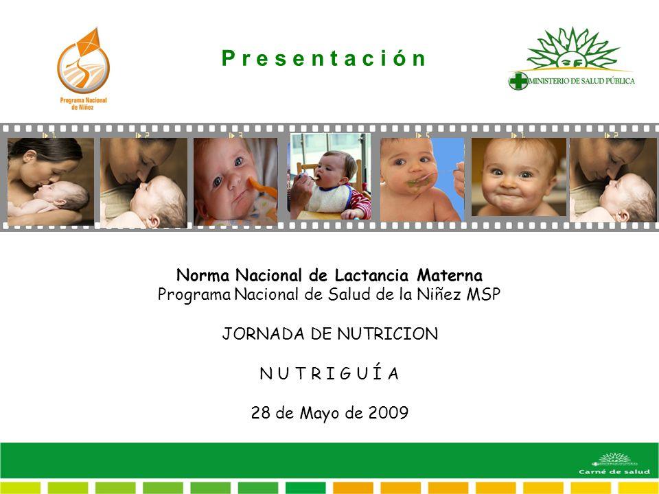 Norma Nacional de Lactancia Materna Programa Nacional de Salud de la Niñez MSP JORNADA DE NUTRICION N U T R I G U Í A 28 de Mayo de 2009 P r e s e n t