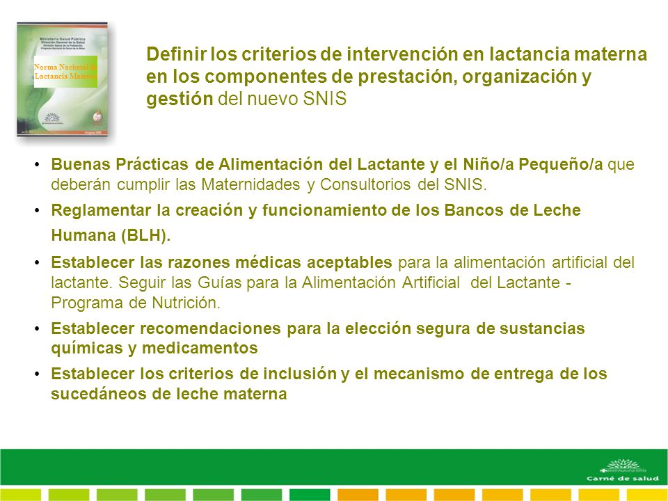 Definir los criterios de intervención en lactancia materna en los componentes de prestación, organización y gestión del nuevo SNIS Buenas Prácticas de Alimentación del Lactante y el Niño/a Pequeño/a que deberán cumplir las Maternidades y Consultorios del SNIS.