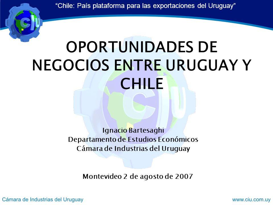 OPORTUNIDADES DE NEGOCIOS ENTRE URUGUAY Y CHILE Ignacio Bartesaghi Departamento de Estudios Económicos Cámara de Industrias del Uruguay Chile: País plataforma para las exportaciones del Uruguay Montevideo 2 de agosto de 2007