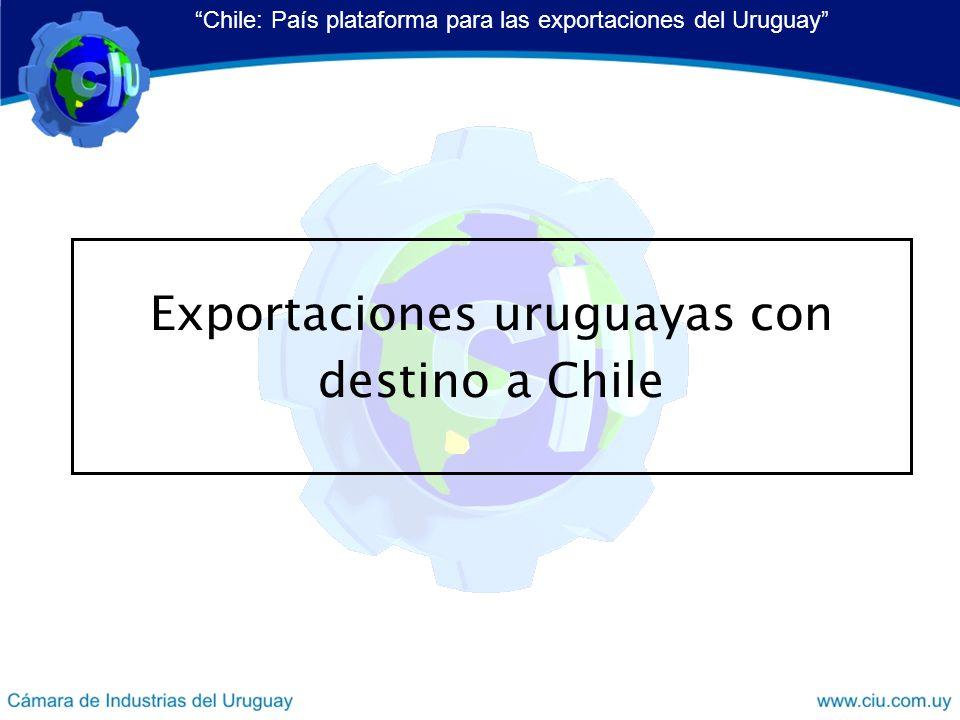 Exportaciones uruguayas con destino a Chile Chile: País plataforma para las exportaciones del Uruguay