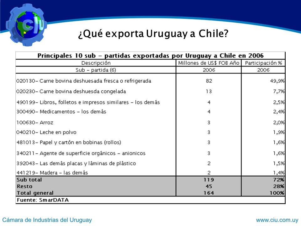 ¿Qué exporta Uruguay a Chile?