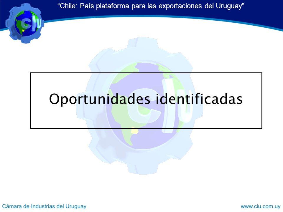 Oportunidades identificadas Chile: País plataforma para las exportaciones del Uruguay