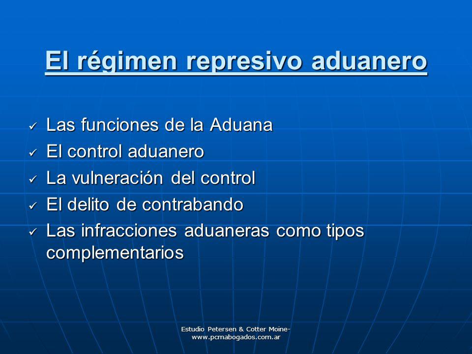 Estudio Petersen & Cotter Moine- www.pcmabogados.com.ar El régimen represivo aduanero Las funciones de la Aduana Las funciones de la Aduana El control