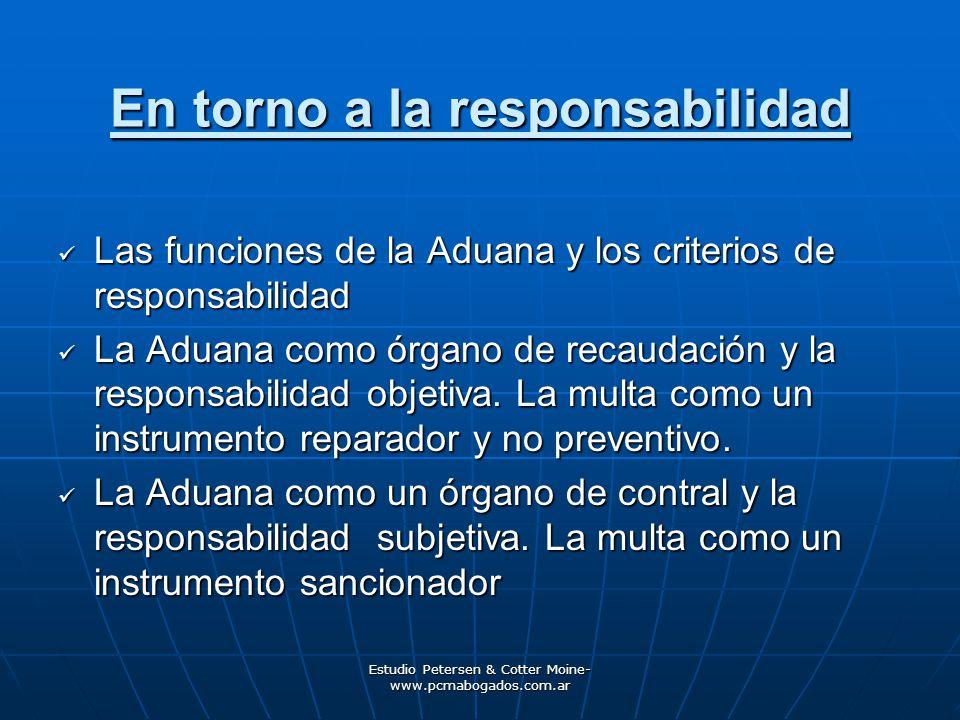Estudio Petersen & Cotter Moine- www.pcmabogados.com.ar La responsabilidad refraccional y el Código Aduanero Argentino Art.
