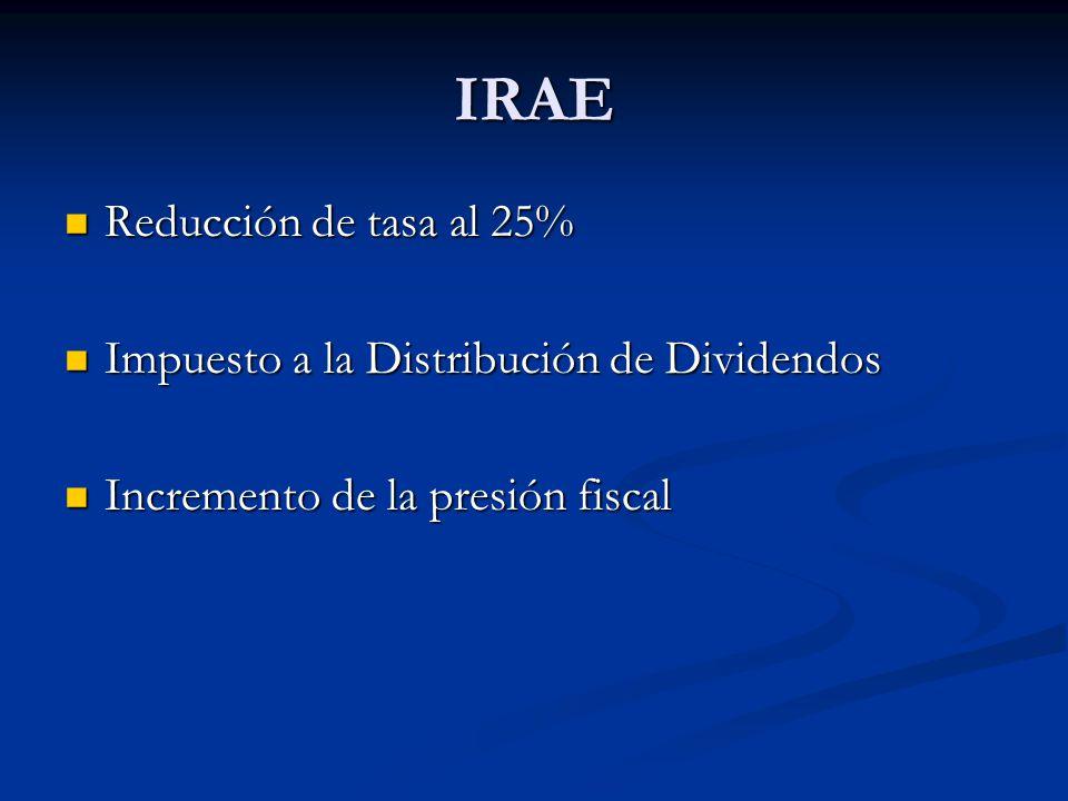 IRAE Reducción de tasa al 25% Reducción de tasa al 25% Impuesto a la Distribución de Dividendos Impuesto a la Distribución de Dividendos Incremento de la presión fiscal Incremento de la presión fiscal