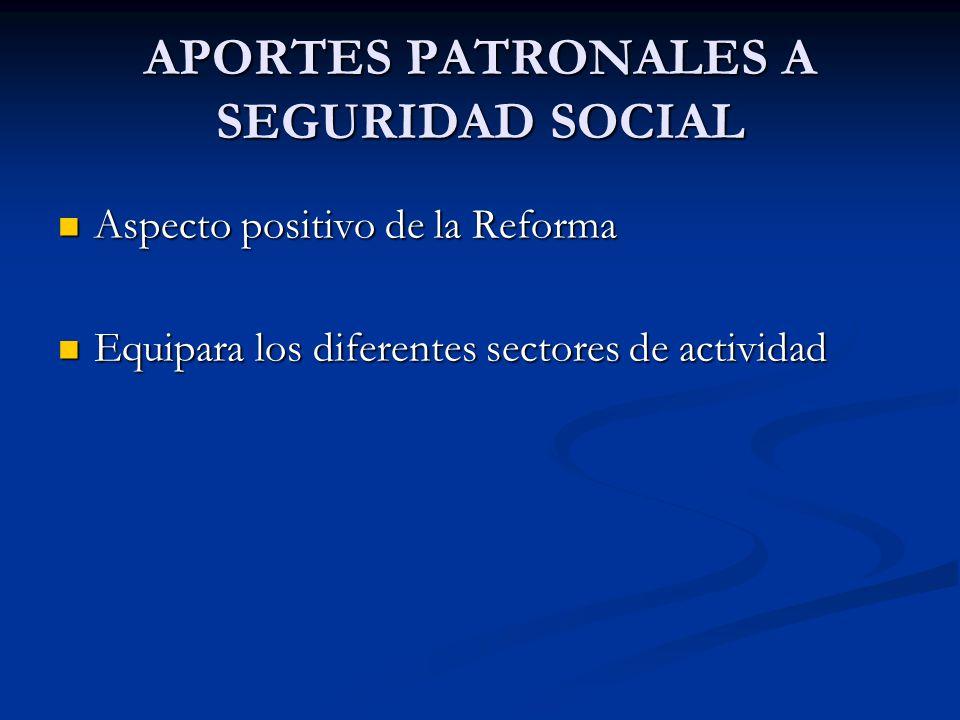 APORTES PATRONALES A SEGURIDAD SOCIAL Aspecto positivo de la Reforma Aspecto positivo de la Reforma Equipara los diferentes sectores de actividad Equipara los diferentes sectores de actividad