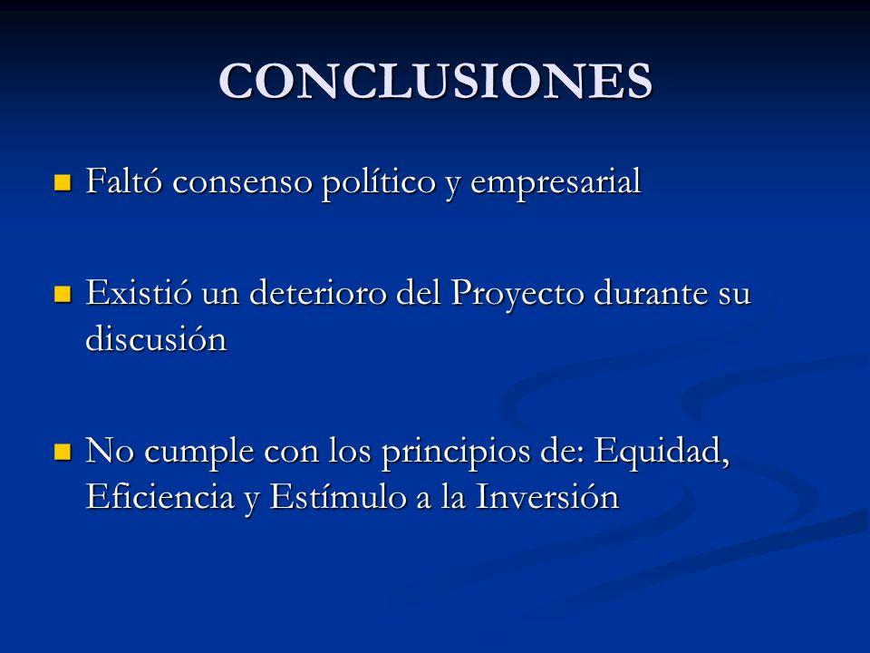 CONCLUSIONES Faltó consenso político y empresarial Faltó consenso político y empresarial Existió un deterioro del Proyecto durante su discusión Existió un deterioro del Proyecto durante su discusión No cumple con los principios de: Equidad, Eficiencia y Estímulo a la Inversión No cumple con los principios de: Equidad, Eficiencia y Estímulo a la Inversión