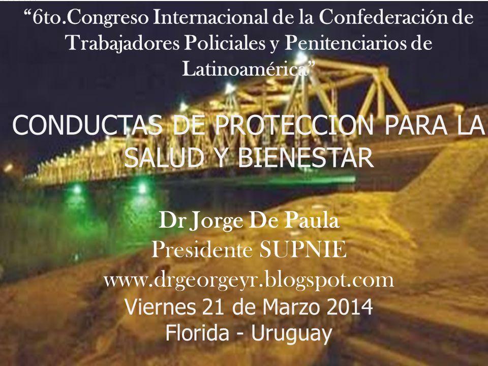 6to.Congreso Internacional de la Confederación de Trabajadores Policiales y Penitenciarios de Latinoamérica CONDUCTAS DE PROTECCION PARA LA SALUD Y BI