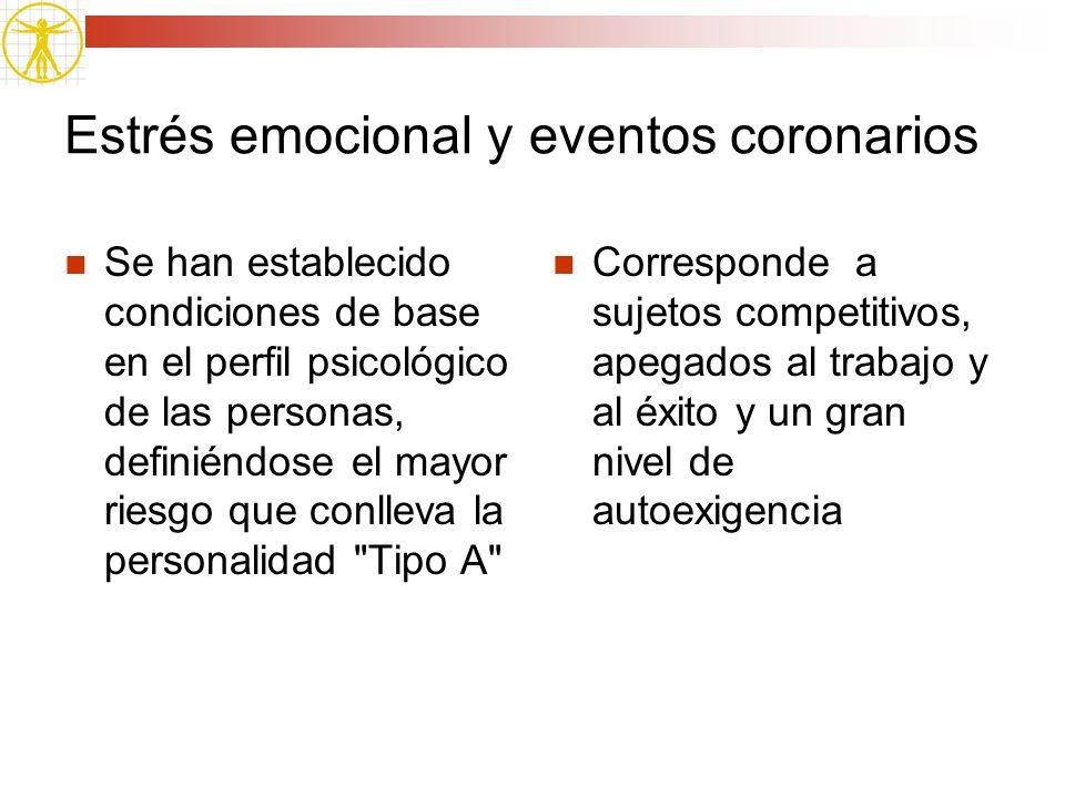 Estrés emocional y eventos coronarios Se han establecido condiciones de base en el perfil psicológico de las personas, definiéndose el mayor riesgo qu