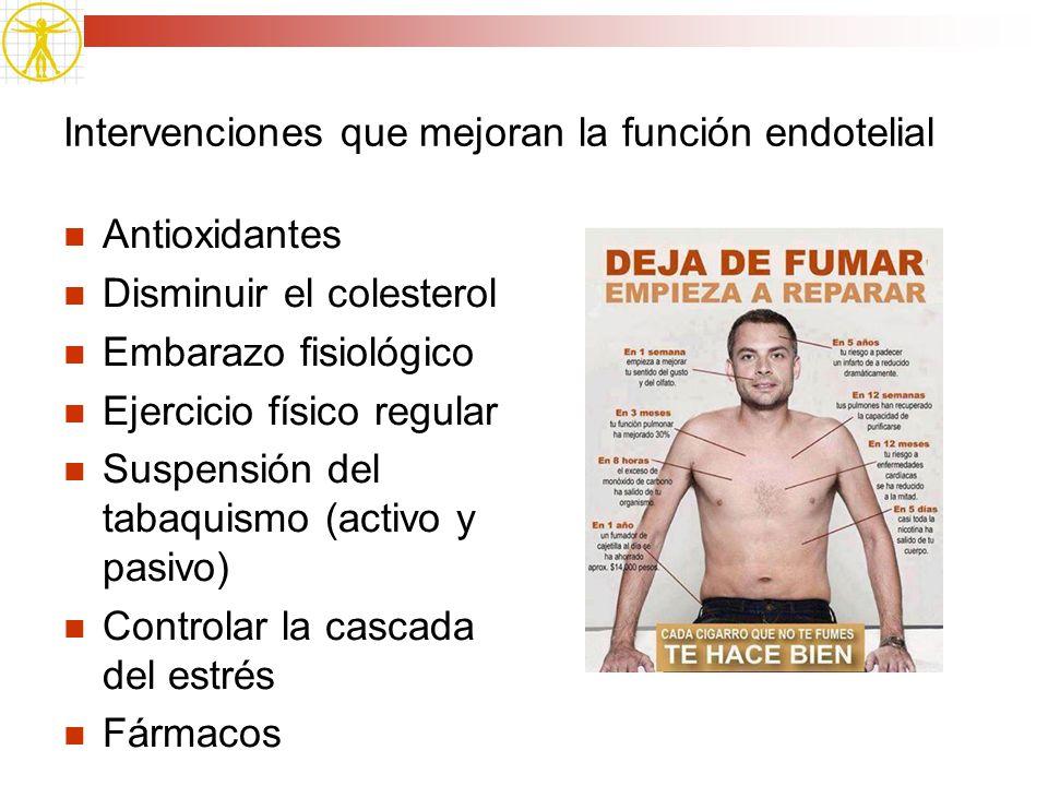Intervenciones que mejoran la función endotelial Antioxidantes Disminuir el colesterol Embarazo fisiológico Ejercicio físico regular Suspensión del ta