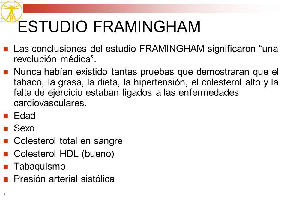 ESTUDIO FRAMINGHAM Las conclusiones del estudio FRAMINGHAM significaron una revolución médica. Nunca habían existido tantas pruebas que demostraran qu