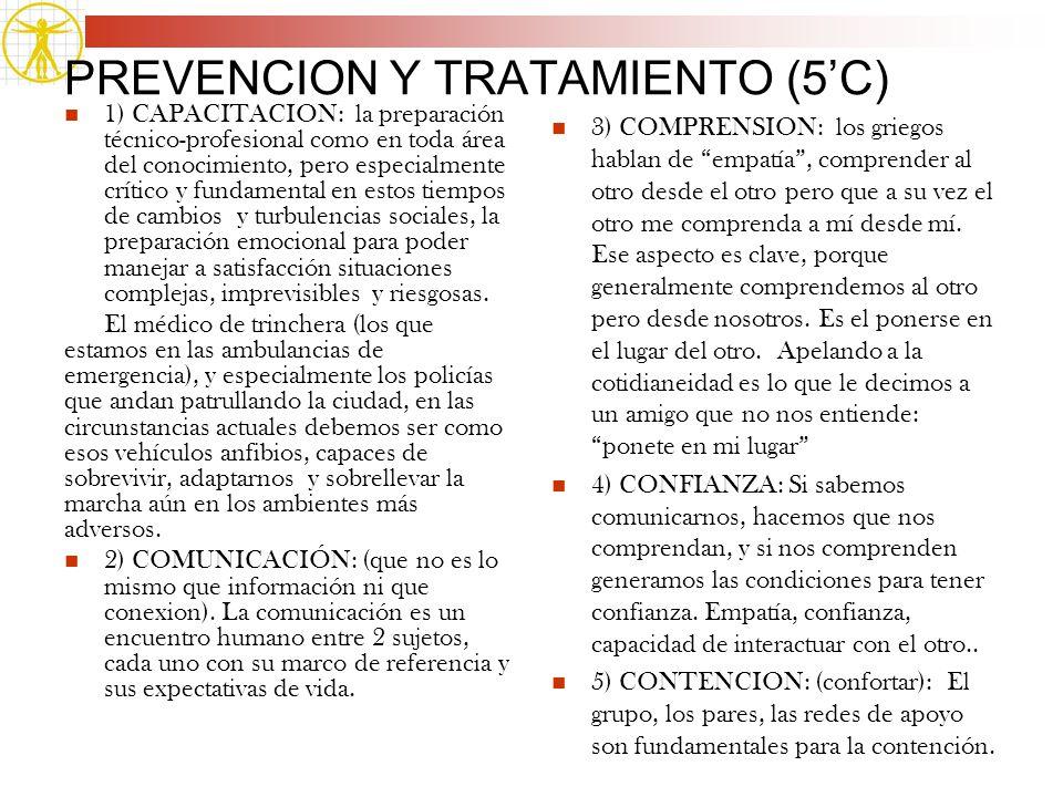 PREVENCION Y TRATAMIENTO (5C) 1) CAPACITACION: la preparación técnico-profesional como en toda área del conocimiento, pero especialmente crítico y fun