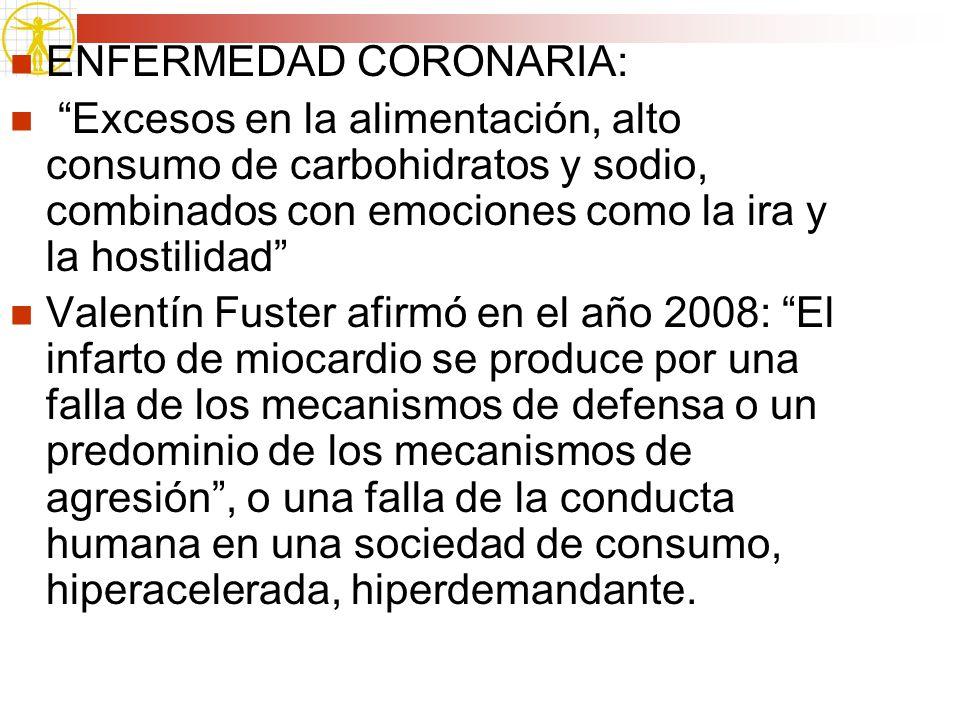 ENFERMEDAD CORONARIA: Excesos en la alimentación, alto consumo de carbohidratos y sodio, combinados con emociones como la ira y la hostilidad Valentín