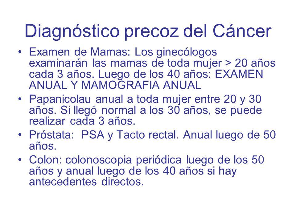 Diagnóstico precoz del Cáncer Examen de Mamas: Los ginecólogos examinarán las mamas de toda mujer > 20 años cada 3 años. Luego de los 40 años: EXAMEN