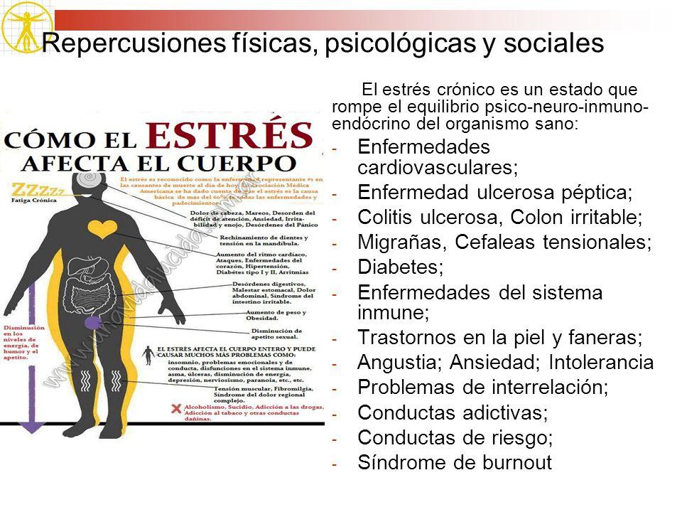 Repercusiones físicas, psicológicas y sociales El estrés crónico es un estado que rompe el equilibrio psico-neuro-inmuno- endócrino del organismo sano