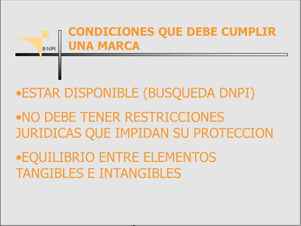 ESTAR DISPONIBLE (BUSQUEDA DNPI) NO DEBE TENER RESTRICCIONES JURIDICAS QUE IMPIDAN SU PROTECCION EQUILIBRIO ENTRE ELEMENTOS TANGIBLES E INTANGIBLES CONDICIONES QUE DEBE CUMPLIR UNA MARCA