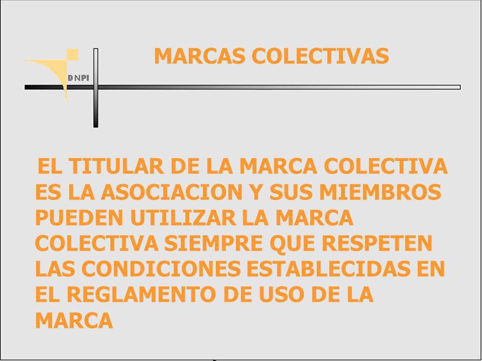 EL TITULAR DE LA MARCA COLECTIVA ES LA ASOCIACION Y SUS MIEMBROS PUEDEN UTILIZAR LA MARCA COLECTIVA SIEMPRE QUE RESPETEN LAS CONDICIONES ESTABLECIDAS EN EL REGLAMENTO DE USO DE LA MARCA MARCAS COLECTIVAS