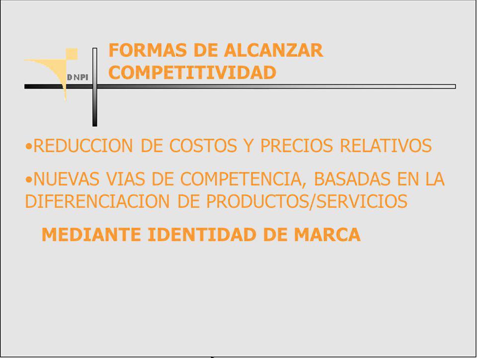 REDUCCION DE COSTOS Y PRECIOS RELATIVOS NUEVAS VIAS DE COMPETENCIA, BASADAS EN LA DIFERENCIACION DE PRODUCTOS/SERVICIOS MEDIANTE IDENTIDAD DE MARCA FORMAS DE ALCANZAR COMPETITIVIDAD