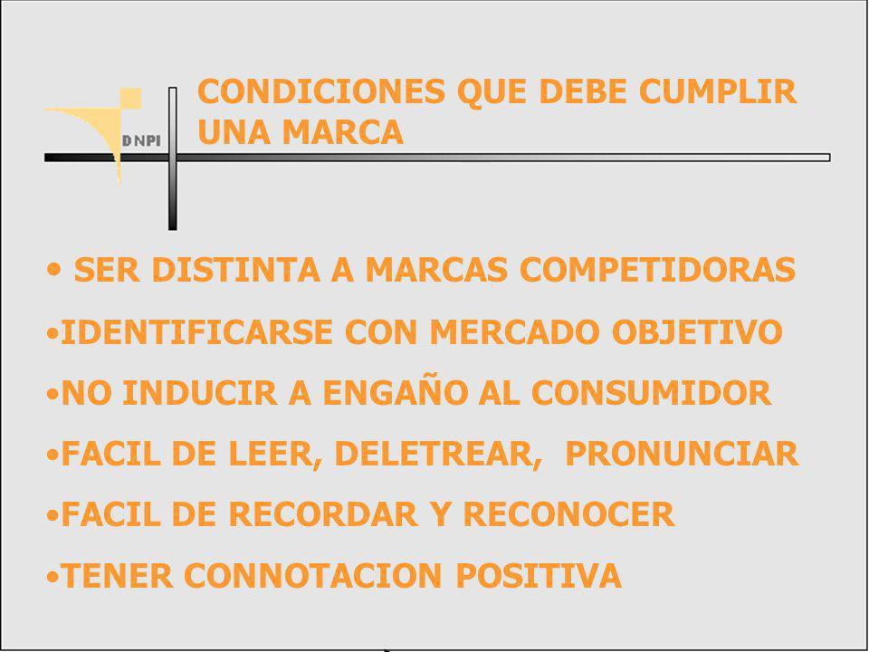 SER DISTINTA A MARCAS COMPETIDORAS IDENTIFICARSE CON MERCADO OBJETIVO NO INDUCIR A ENGAÑO AL CONSUMIDOR FACIL DE LEER, DELETREAR, PRONUNCIAR FACIL DE RECORDAR Y RECONOCER TENER CONNOTACION POSITIVA CONDICIONES QUE DEBE CUMPLIR UNA MARCA