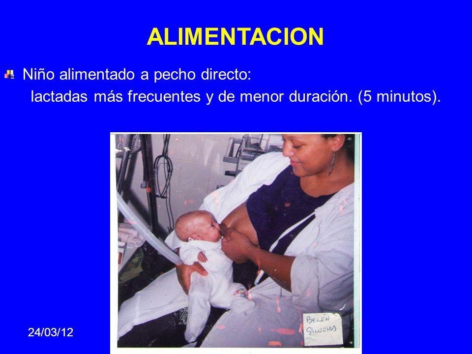 ALIMENTACION Niño alimentado a pecho directo: lactadas más frecuentes y de menor duración. (5 minutos). 24/03/12