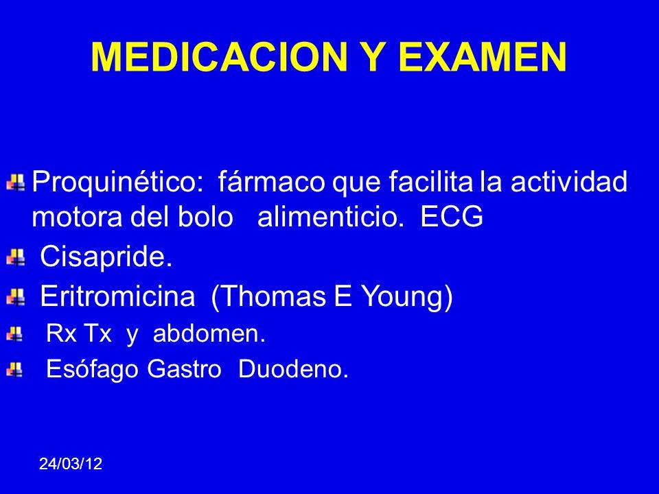 MEDICACION Y EXAMEN Proquinético: fármaco que facilita la actividad motora del bolo alimenticio. ECG Cisapride. Eritromicina (Thomas E Young) Rx Tx y