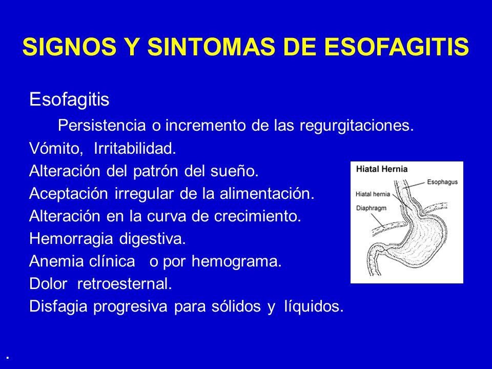 SIGNOS Y SINTOMAS DE ESOFAGITIS Esofagitis Persistencia o incremento de las regurgitaciones. Vómito, Irritabilidad. Alteración del patrón del sueño. A