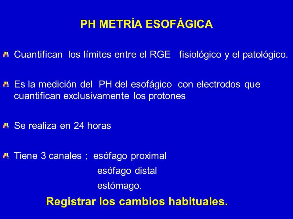 24/03/12 PH METRÍA ESOFÁGICA Cuantifican los límites entre el RGE fisiológico y el patológico. Es la medición del PH del esofágico con electrodos que