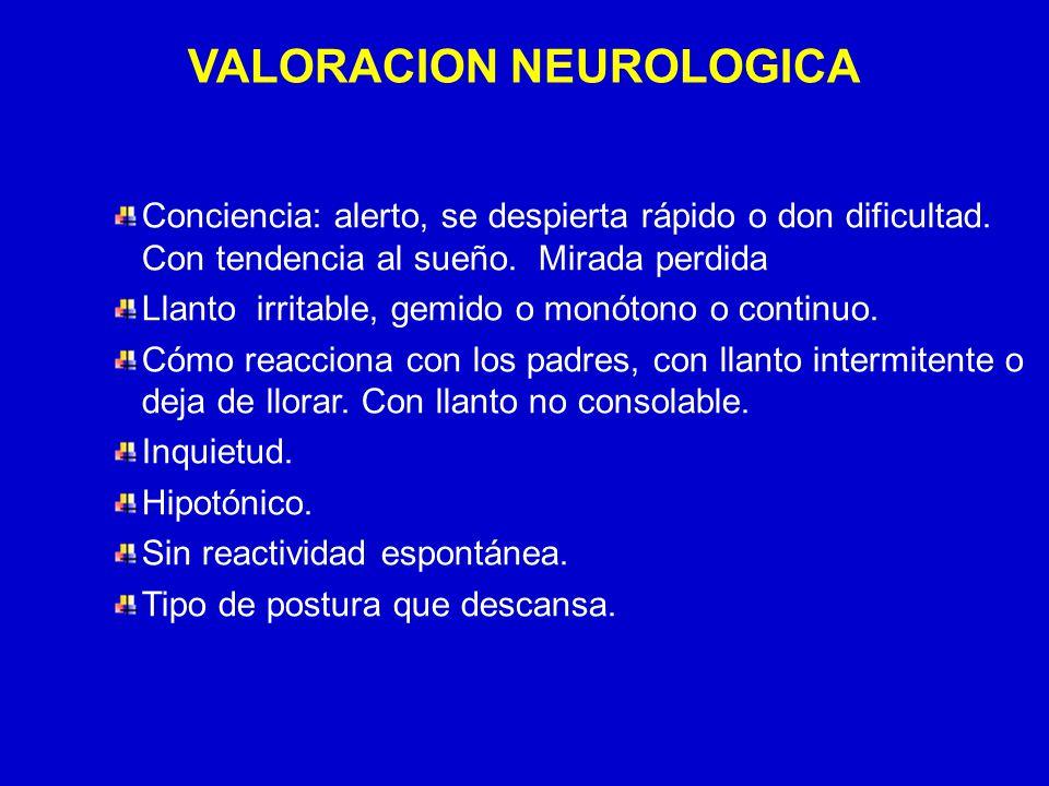 24/03/12 VALORACION NEUROLOGICA Conciencia: alerto, se despierta rápido o don dificultad. Con tendencia al sueño. Mirada perdida Llanto irritable, gem