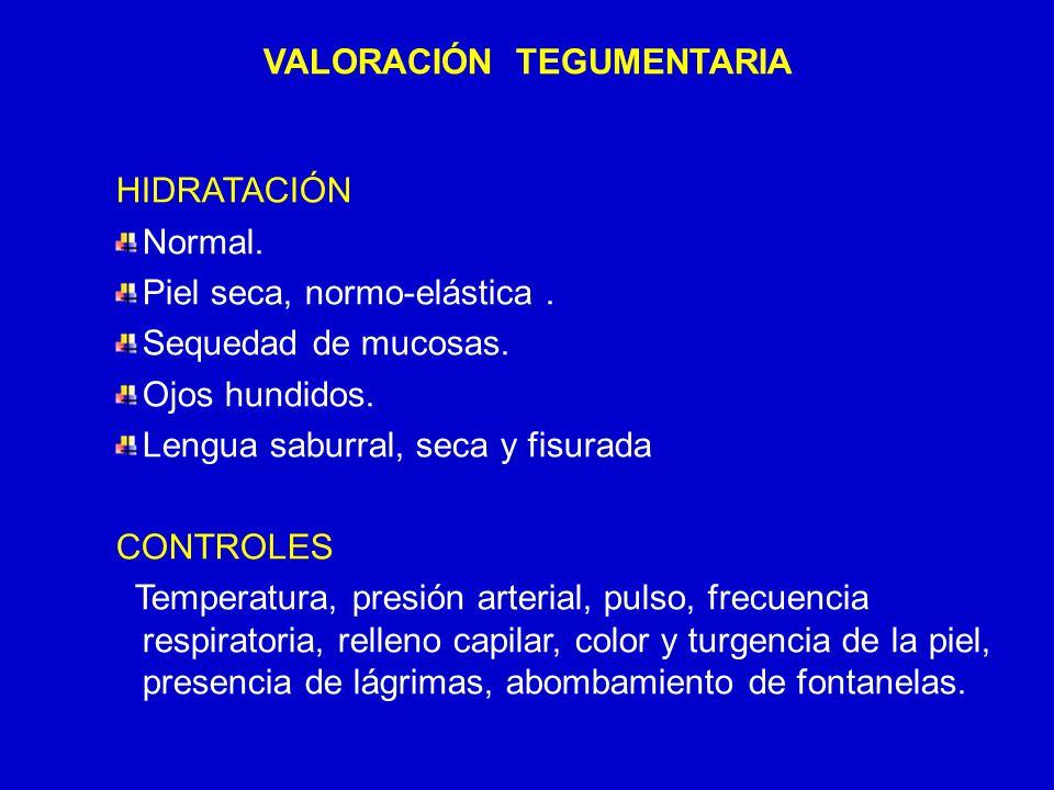 24/03/12 VALORACIÓN TEGUMENTARIA HIDRATACIÓN Normal. Piel seca, normo-elástica. Sequedad de mucosas. Ojos hundidos. Lengua saburral, seca y fisurada C