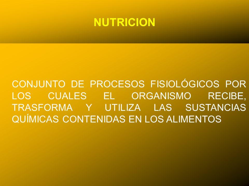 NUTRICION CONJUNTO DE PROCESOS FISIOLÓGICOS POR LOS CUALES EL ORGANISMO RECIBE, TRASFORMA Y UTILIZA LAS SUSTANCIAS QUÍMICAS CONTENIDAS EN LOS ALIMENTOS