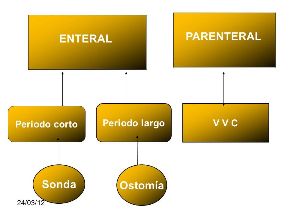 24/03/12 ENTERAL PARENTERAL Periodo corto V V C Periodo largo Sonda Ostomía