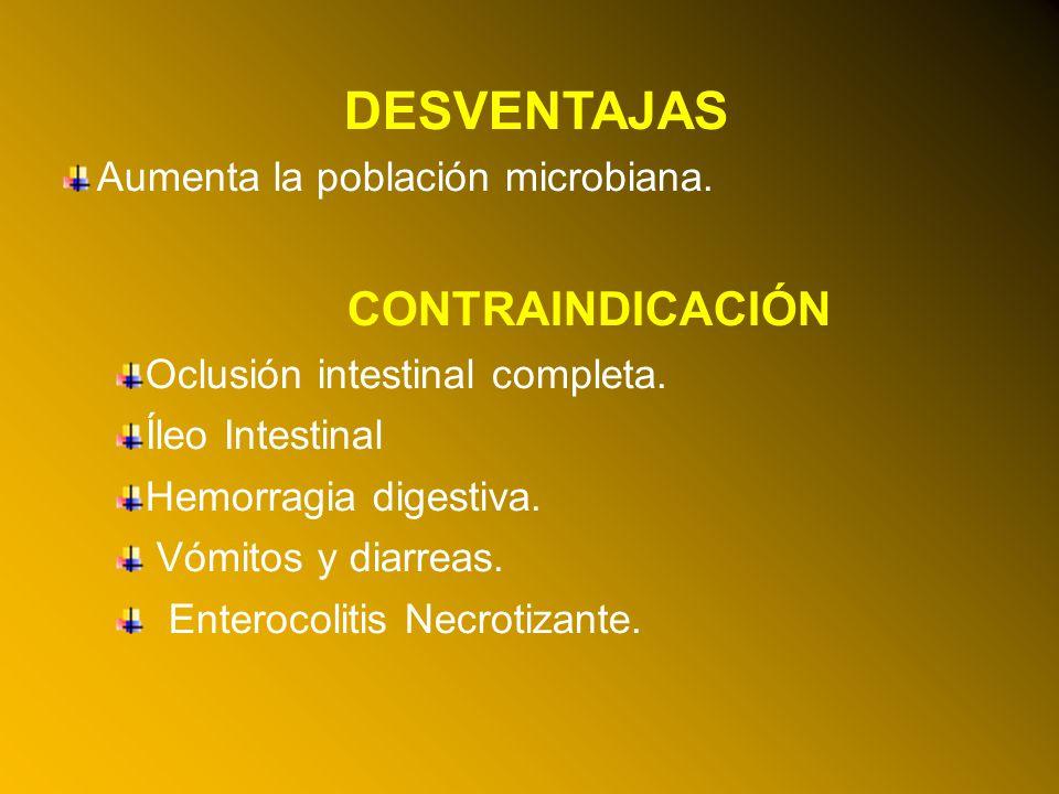 24/03/12 DESVENTAJAS Aumenta la población microbiana. CONTRAINDICACIÓN Oclusión intestinal completa. Íleo Intestinal Hemorragia digestiva. Vómitos y d