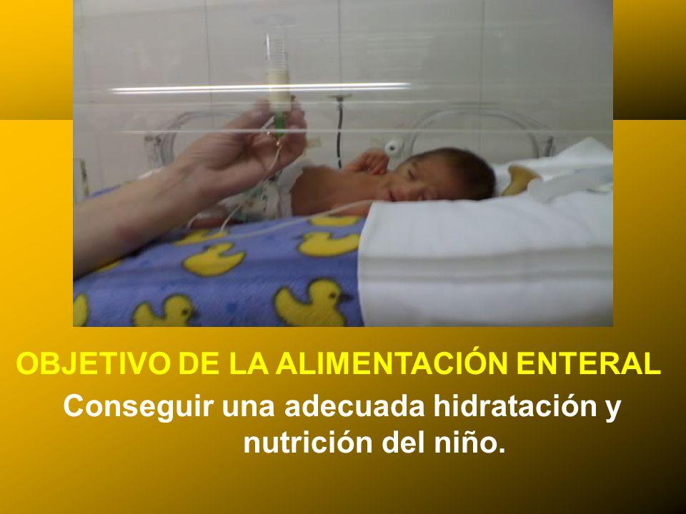 24/03/12 OBJETIVO DE LA ALIMENTACIÓN ENTERAL Conseguir una adecuada hidratación y nutrición del niño.