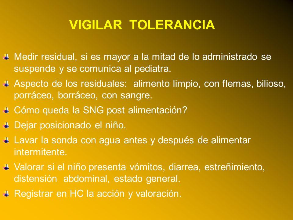 24/03/12 VIGILAR TOLERANCIA Medir residual, si es mayor a la mitad de lo administrado se suspende y se comunica al pediatra.