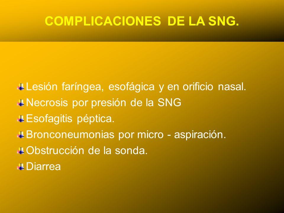 24/03/12 COMPLICACIONES DE LA SNG. Lesión faríngea, esofágica y en orificio nasal. Necrosis por presión de la SNG Esofagitis péptica. Bronconeumonias