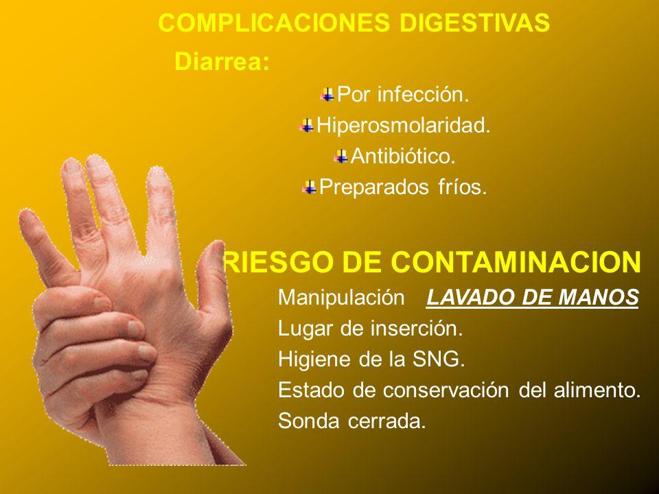 24/03/12 COMPLICACIONES DIGESTIVAS Diarrea: Por infección. Hiperosmolaridad. Antibiótico. Preparados fríos. RIESGO DE CONTAMINACION Manipulación LAVAD