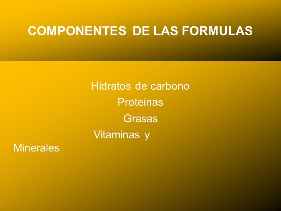 24/03/12 COMPONENTES DE LAS FORMULAS Hidratos de carbono Proteínas Grasas Vitaminas y Minerales