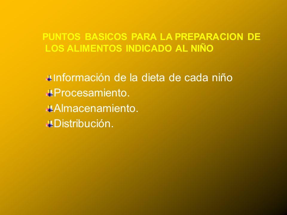 24/03/12 PUNTOS BASICOS PARA LA PREPARACION DE LOS ALIMENTOS INDICADO AL NIÑO I nformación de la dieta de cada niño Procesamiento. Almacenamiento. Dis