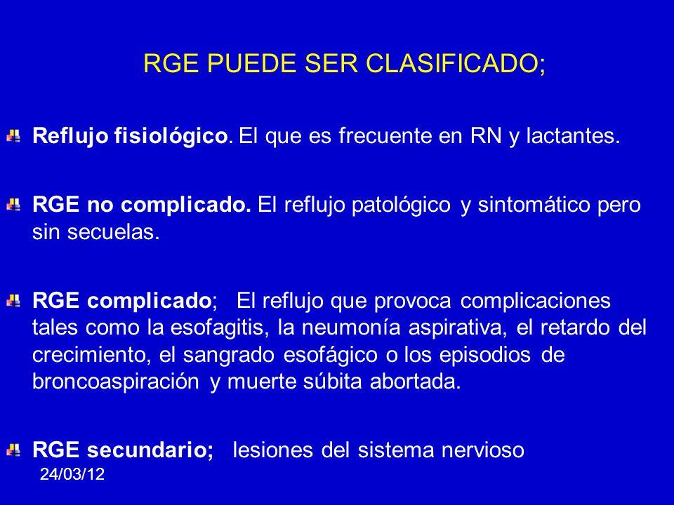 RGE PUEDE SER CLASIFICADO; Reflujo fisiológico. El que es frecuente en RN y lactantes. RGE no complicado. El reflujo patológico y sintomático pero sin