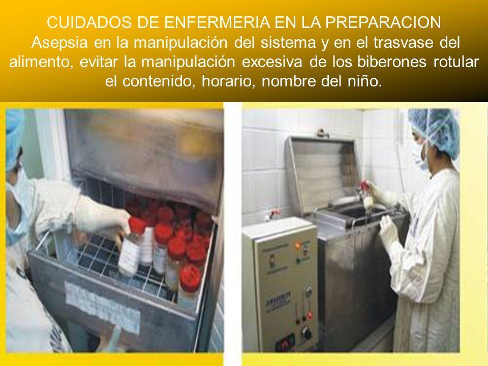 24/03/12 CUIDADOS DE ENFERMERIA EN LA PREPARACION Asepsia en la manipulación del sistema y en el trasvase del alimento, evitar la manipulación excesiv