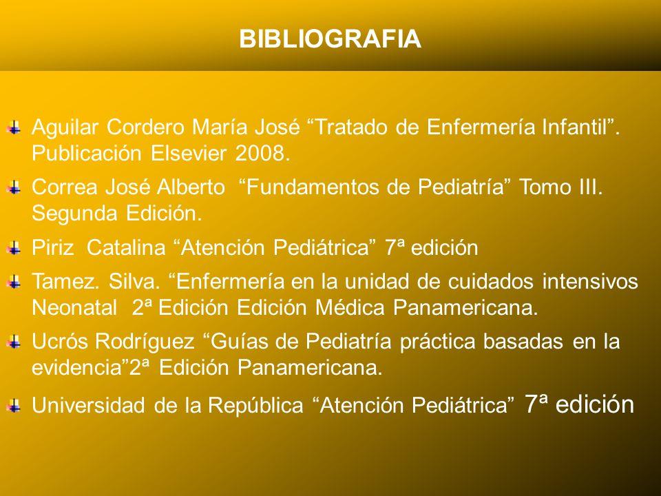 24/03/12 BIBLIOGRAFIA Aguilar Cordero María José Tratado de Enfermería Infantil. Publicación Elsevier 2008. Correa José Alberto Fundamentos de Pediatr