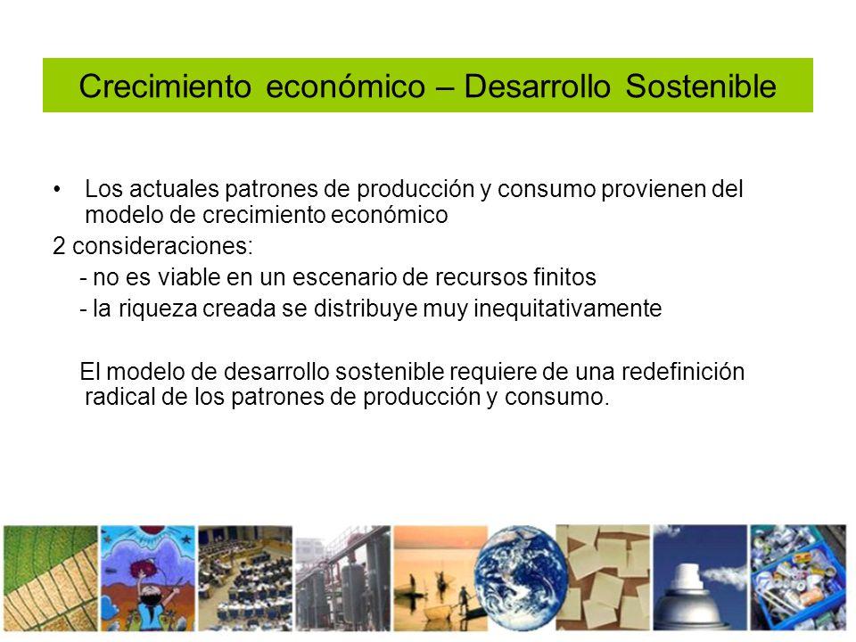 Estado y desarrollo sostenible Doble rol: 1- Desarrollar e implementar políticas que promuevan el crecimiento económico compatible con la justicia social y protección del medio ambiente 2- como productor y consumidor de bienes y servicios debe adoptar para sí patrones de producción y consumo sostenible
