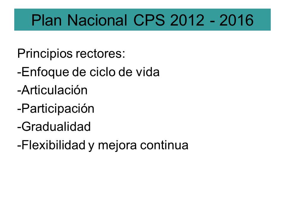 Principios rectores: -Enfoque de ciclo de vida -Articulación -Participación -Gradualidad -Flexibilidad y mejora continua Plan Nacional CPS 2012 - 2016