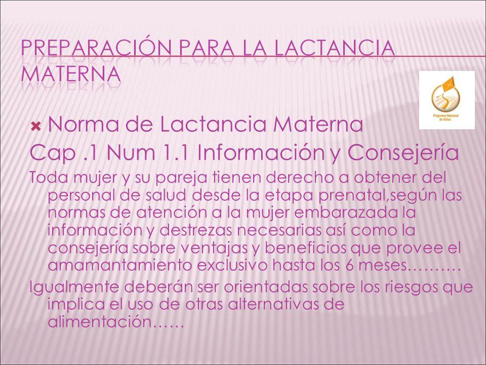 Norma de Lactancia Materna Cap.1 Num 1.1 Información y Consejería Toda mujer y su pareja tienen derecho a obtener del personal de salud desde la etapa