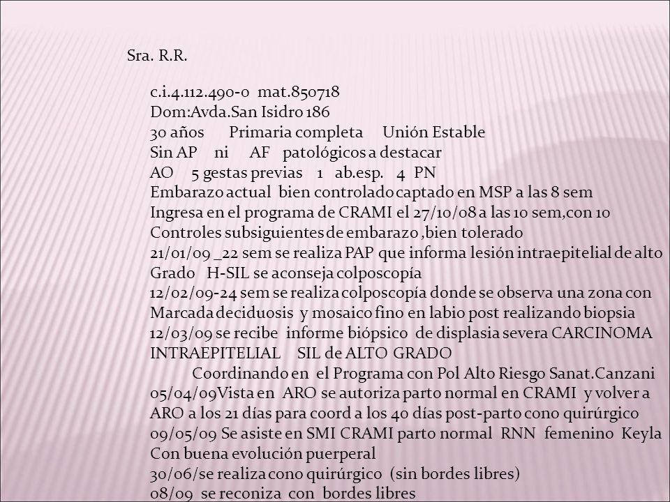 Sra. R.R. c.i.4.112.490-0 mat.850718 Dom:Avda.San Isidro 186 30 años Primaria completa Unión Estable Sin AP ni AF patológicos a destacar AO 5 gestas p