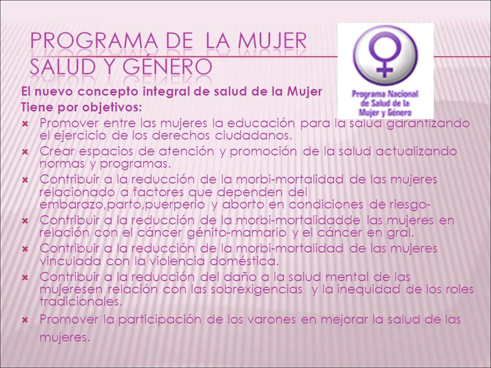 El nuevo concepto integral de salud de la Mujer Tiene por objetivos: Promover entre las mujeres la educación para la salud garantizando el ejercicio de los derechos ciudadanos.