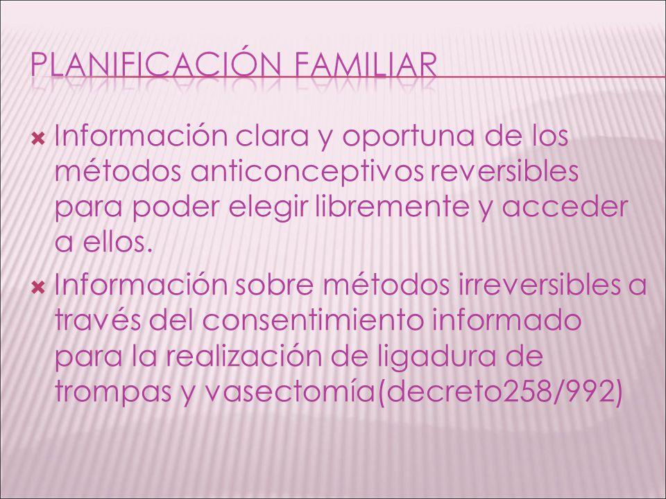 Información clara y oportuna de los métodos anticonceptivos reversibles para poder elegir libremente y acceder a ellos. Información sobre métodos irre