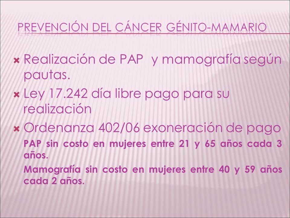 Realización de PAP y mamografía según pautas. Ley 17.242 día libre pago para su realización Ordenanza 402/06 exoneración de pago PAP sin costo en muje
